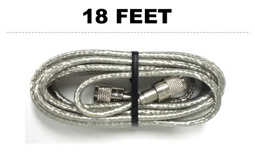 18' Clear CB Radio Coax Cable 18S8XC29