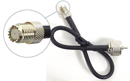Mini-UHF (F) to PL-259 (M) 1ft Coax Adapter Cable