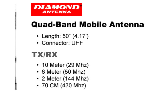 Diamond Antenna CR8900A Quad Band FM Mobile Antenna