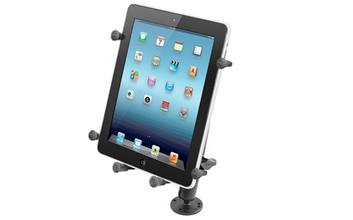 RAM Flat Surface Mount with LONG Double Socket Arm and X-Grip III Holder for Large Tablets