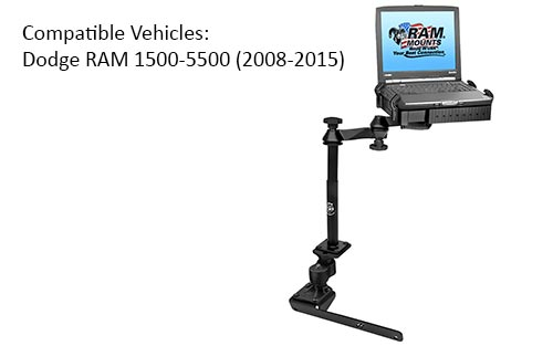 RAM RAM-VB-178A-SW1 No-Drill Laptop Mount with Adjust-A-Pole for the Dodge RAM 1500-5500 2008-2015