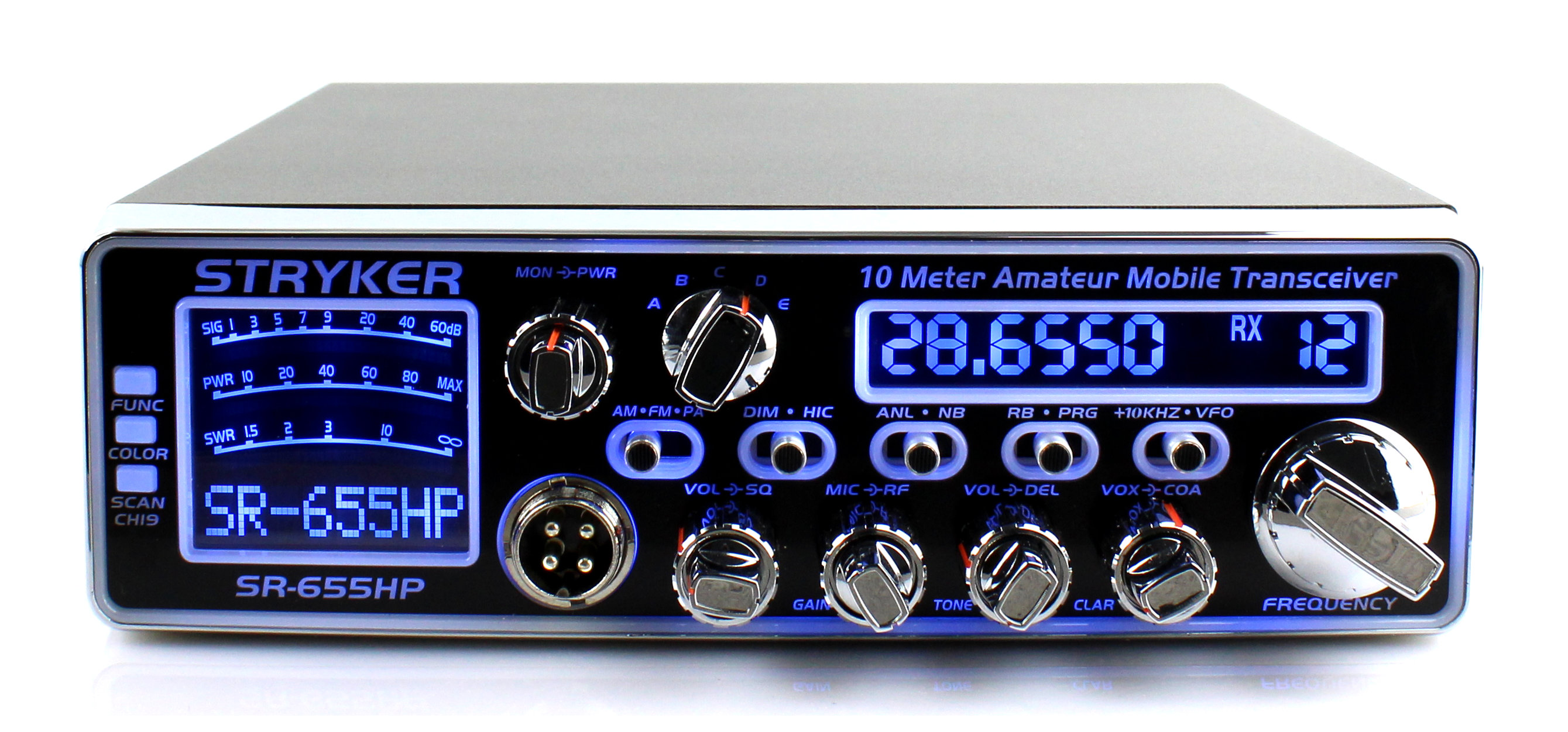 <b>Join the digital age! With This High Tech Display.  Large digital meter</b> displays receive signal, transmit power and SWR. Fully adjustable echo and talk-back controls. This radio is HOT!