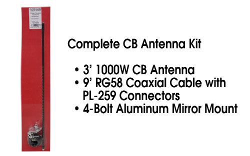 Complete CB Antenna Kit - 3ft Antenna + 9ft Cable + Mount