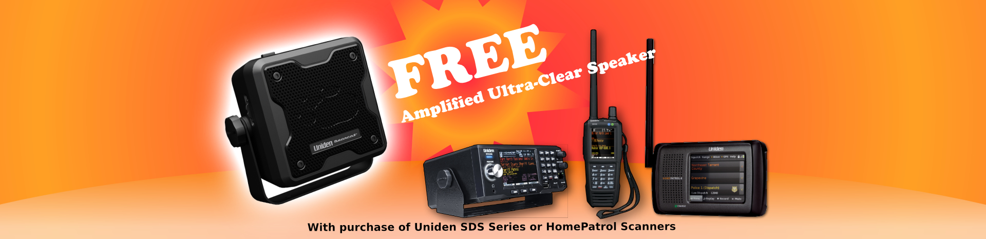 Free Uniden BC23A Amplified Speaker with Purchase of SDS100, SDS