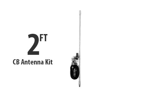 Two Foot CB Antenna Kit - White - With Coax and Mount