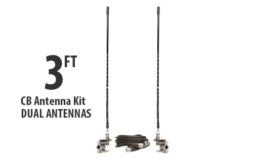 Three Foot CB Antenna Kit - Black - With Coax and Mount - DUAL ANTENNA KIT