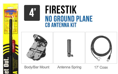 Firestik FG4648B 4' No Ground Plane CB Antenna Kit - BLACK