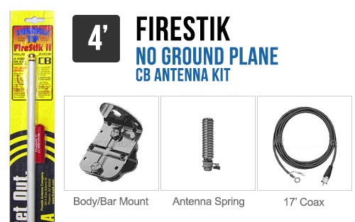 Firestik FG4648W 4' No Ground Plane CB Antenna Kit - WHITE