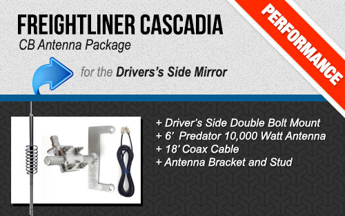 Freightliner Cascadia Mirror Arm Antenna Package with Predator