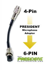 President Electronics Microphone Adapter 4-pin to 6-pin