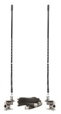 Four Foot Tall CB Antenna Kit - Black - With Coax and Mount - DUAL ANTENNA KIT