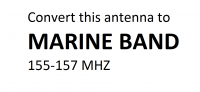 Convert this antenna to the marine radio band between 155 to 157 MHz