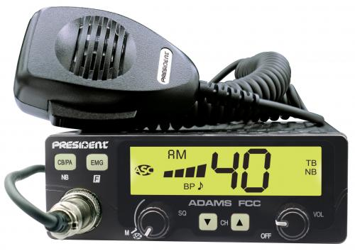 President ADAMS Compact CB Radio with Large LCD Screen