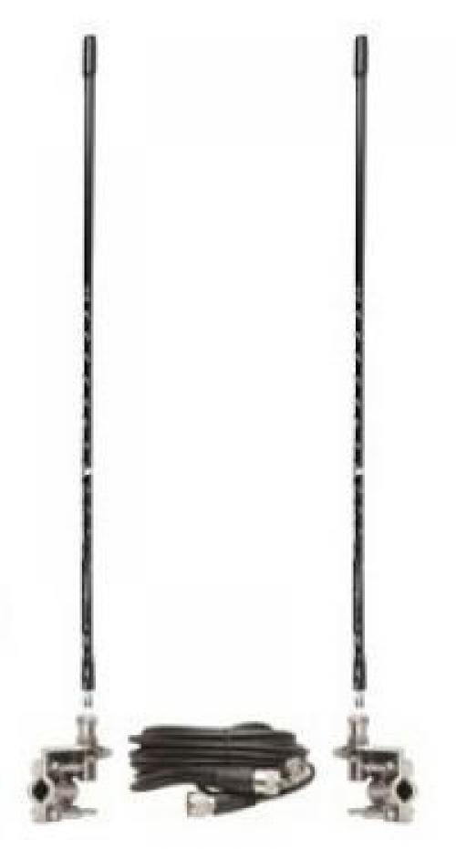 Three Foot Tall CB Antenna Kit - Black - With Coax and Mount - DUAL ANTENNA KIT