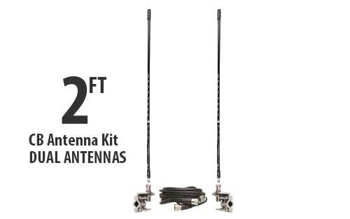 Two Foot CB Tall Antenna Kit - Black - With Coax and Mount - DUAL ANTENNA KIT