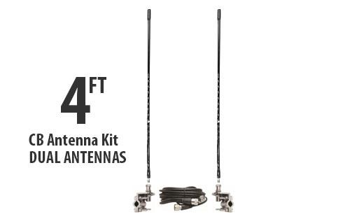 Four Foot CB Antenna Kit - Black - With Coax and Mount - DUAL ANTENNA KIT